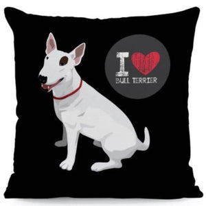 I Heart My French Bulldog Cushion CoverCushion CoverOne SizeBull Terrier - Black BG