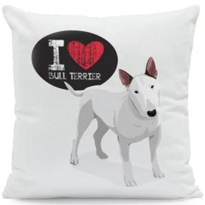 I Heart My French Bulldog Cushion CoverCushion CoverOne SizeBull Terrier - White BG