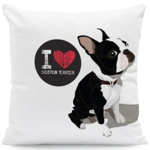 I Heart My Pit bull Terrier Cushion CoverCushion CoverOne SizeBoston Terrier - Standing