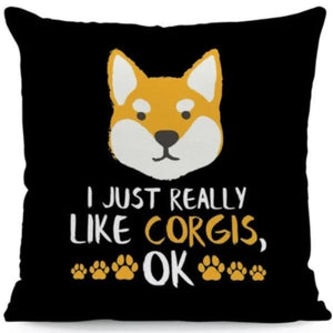 I Just Really Like Huskies OK Cushion CoversCushion CoverOne SizeCorgi - Face