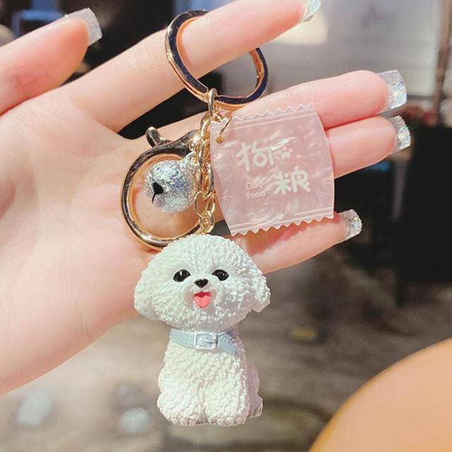Image of a super-cute Bichon Frise keychain in 3D Bichon Frise design