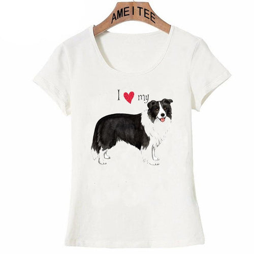 I Love My Border Collie Womens T ShirtApparel