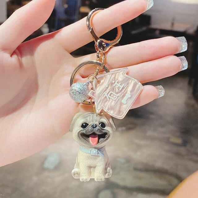 Image of a super-cute Pug keychain in 3D Pug design