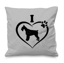 Load image into Gallery viewer, I Love My Schnauzer Cushion CoversCushion CoverSchnauzer in Heart - Grey BG