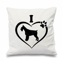 Load image into Gallery viewer, I Love My Schnauzer Cushion CoversCushion CoverSchnauzer in Heart - White BG