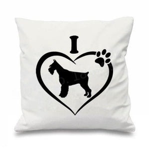 I Love My Schnauzer Cushion CoversCushion CoverSchnauzer in Heart - White BG