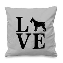 Load image into Gallery viewer, I Love My Schnauzer Cushion CoversCushion CoverSchnauzer with Letters - Grey BG