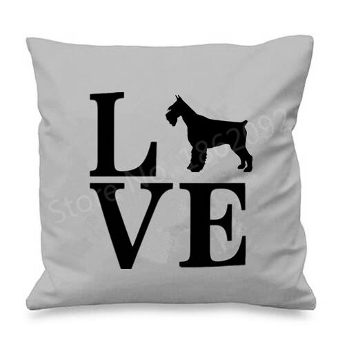 I Love My Schnauzer Cushion CoversCushion CoverSchnauzer with Letters - Grey BG
