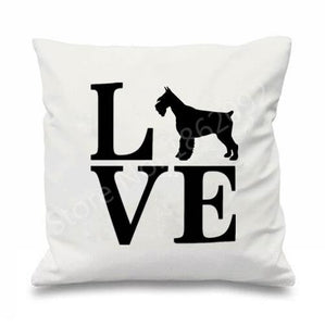 I Love My Schnauzer Cushion CoversCushion CoverSchnauzer with Letters - White BG