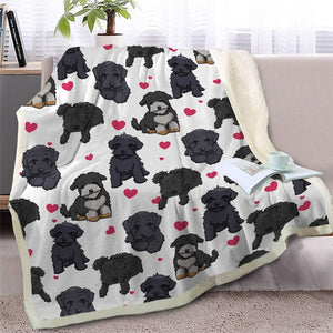 Infinite Bichon Frise Love Warm Blanket - Series 2Home DecorBlack Furry DogMedium