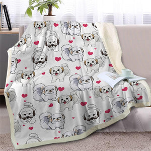 Infinite Bichon Frise Love Warm Blanket - Series 2Home DecorWhite Furry DogMedium