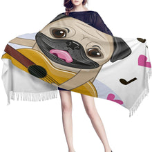 Load image into Gallery viewer, Infinite Pug Love Warm Winter ShawlsAccessoriesPug with Guitar
