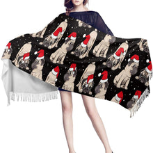 Load image into Gallery viewer, Infinite Pug Love Warm Winter ShawlsAccessoriesPugs in Christmas Hats - Black BG