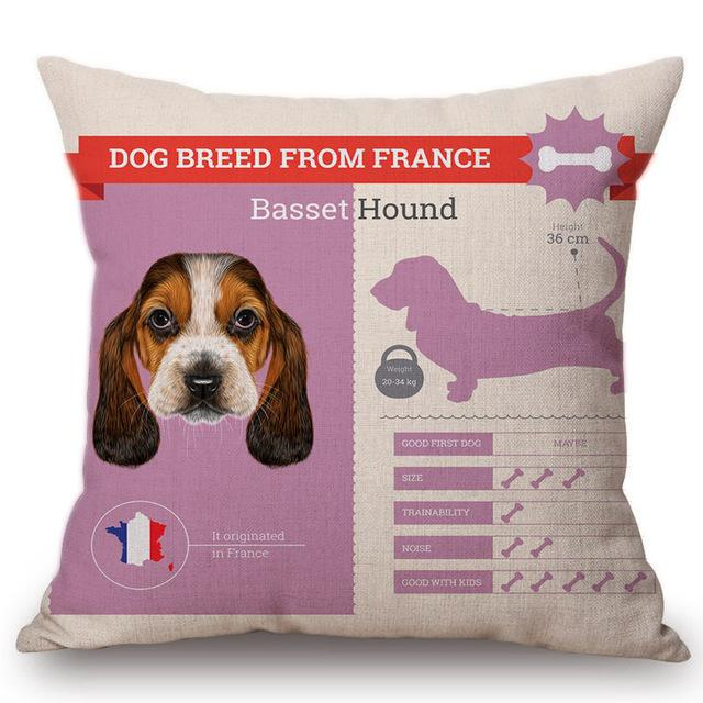 Know Your Basset Hound Cushion Cover - Series 1Home DecorOne SizeBasset Hound