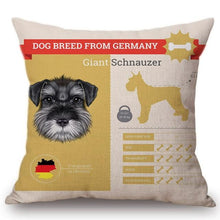 Load image into Gallery viewer, Know Your Bordeaux Mastiff Cushion Cover - Series 1Home DecorOne SizeSchnauzer
