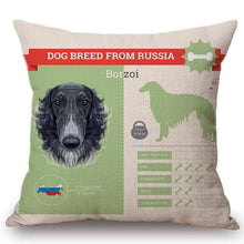 Load image into Gallery viewer, Know Your Gordon Setter Cushion Cover - Series 1Home DecorOne SizeBorzoi