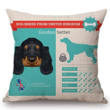 Load image into Gallery viewer, Know Your Gordon Setter Cushion Cover - Series 1Home DecorOne SizeGordon Setter