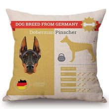 Load image into Gallery viewer, Know Your Great Dane Cushion Cover - Series 1Home DecorOne SizeDoberman