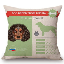 Load image into Gallery viewer, Know Your Russian Spaniel Cushion Cover - Series 1Home DecorOne SizeRussian Spaniel