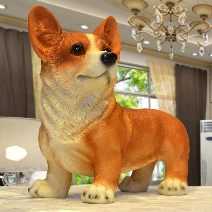 Lifelike Red Corgi Resin StatueHome DecorCorgi - Red