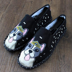 Love Boston Terriers Embroidered Canvas LoafersShoesBlack10