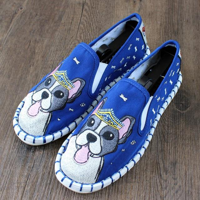 Love Boston Terriers Embroidered Canvas LoafersShoesBlue10