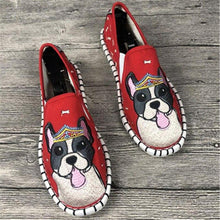 Load image into Gallery viewer, Love Staffordshire Bull Terrier Embroidered Canvas LoafersFootwearRed6