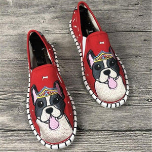 Love Staffordshire Bull Terrier Embroidered Canvas LoafersFootwearRed6