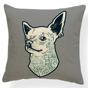 Mauve Quilted Corgi Pattern Cushion Cover - Series 7Cushion CoverOne SizeChihuahua - with Tattoos and Earrings