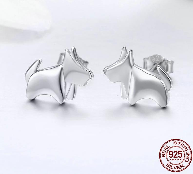 Mini Schnauzer Love Silver EarringsEarring