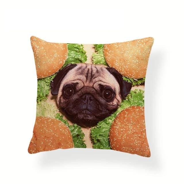 My Pug Loves Grub Cushion CoversCushion CoverOne SizeBurger Pug