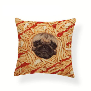 My Pug Loves Grub Cushion CoversCushion CoverOne SizeFrench Fries Pug