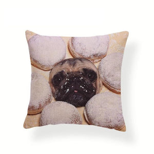 My Pug Loves Grub Cushion CoversCushion CoverOne SizeJelly-filled Donut Pug