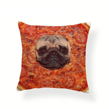 Load image into Gallery viewer, My Pug Loves Grub Cushion CoversCushion CoverOne SizePizza Pug