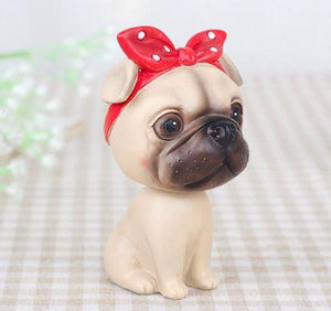 Nodding Boston Terrier Car Bobble HeadCarPug