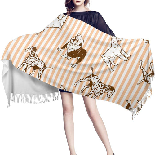 Pastel Orange Stripes Warm Winter Shawl - Dalmatian, English Bulldog & SchnauzerAccessories