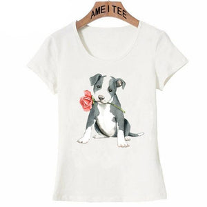 Pink Rose French Bulldog Womens T ShirtApparelAmerican Pit Bull TerrierS