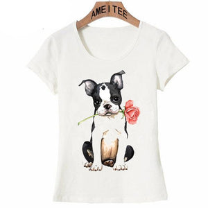 Pink Rose French Bulldog Womens T ShirtApparelBoston TerrierS