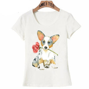 Pink Rose French Bulldog Womens T ShirtApparelCorgiS
