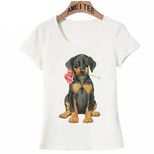 Pink Rose French Bulldog Womens T ShirtApparelDachshundS