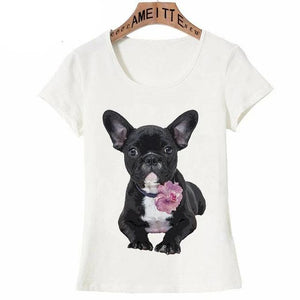 Pink Rose French Bulldog Womens T ShirtApparelFrench BulldogS