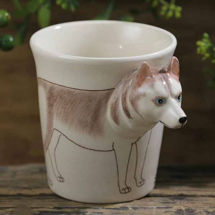 White Husky Love 3D Ceramic Cup