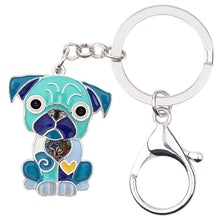 Load image into Gallery viewer, Beautiful Sitting Pug Puppy Love Enamel Keychains
