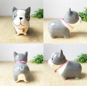 Husky Love Ceramic Car Dashboard / Office Desk Ornament Figurine