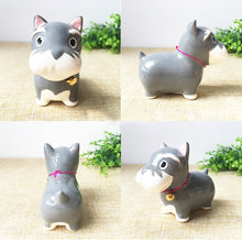 Load image into Gallery viewer, Grey Dog Love Ceramic Car Dashboard / Office Desk Ornament Figurine
