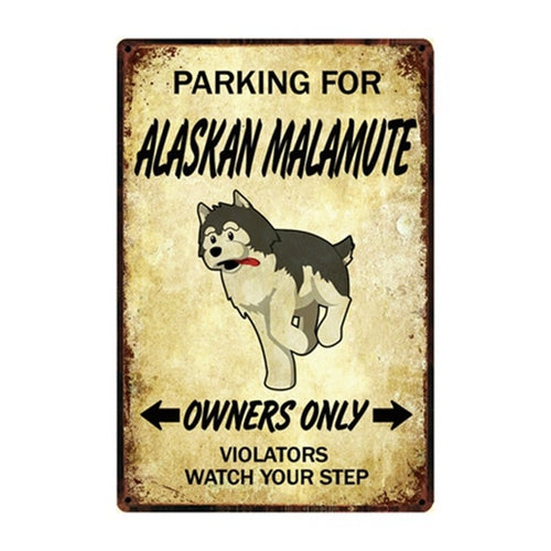 Malamute Love Reserved Car Parking Sign Board