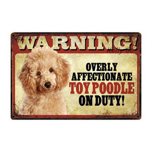 Warning Overly Affectionate Husky on Duty - Tin Poster