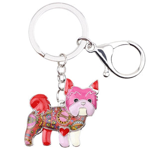 Beautiful Yorkshire Terrier Love Enamel Keychains