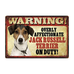 Warning Overly Affectionate Yellow Labrador on Duty - Tin Poster