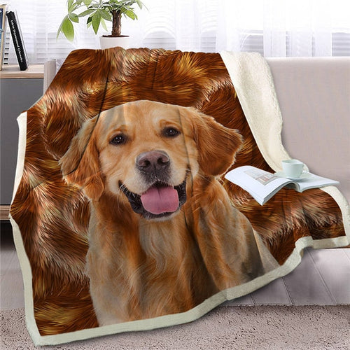 Golden Retriever Love Soft Warm Fleece Blanket - Series 2